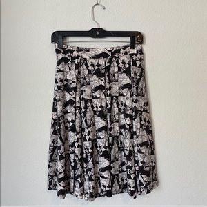 NWT LulaRoe Black White Disney MIDI Pleated skirt